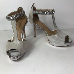 Antonio Melani 8.5 M Heels Silver Jeweled Ankle